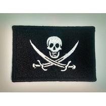 Bandera Pirata Bordada De 9x6 Cms