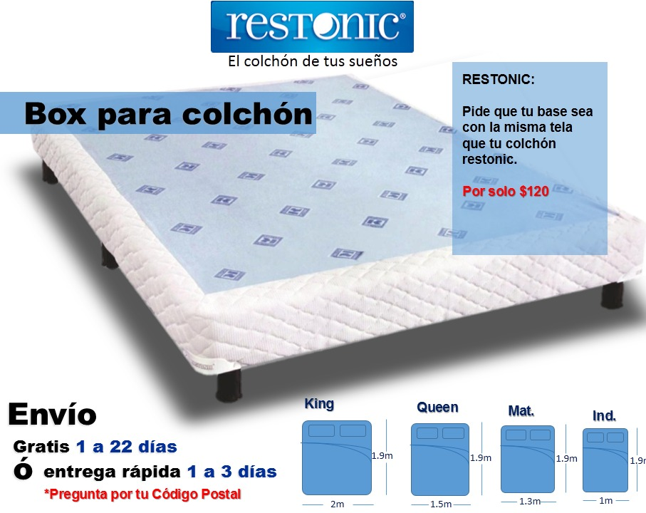 Box de cama para colchon king size env o gratis restonic for Medidas de base de cama queen
