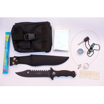Kit Supervivencia Cuchillo Pedernal Manta Brujula Etc 17 Pz