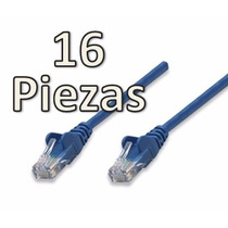Paq.16 Cables Patch De Red Utp Cat.5e 1 Metro Puntas Rj45