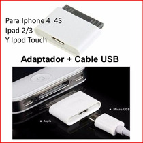 Iphone 4/4s Ipad Ipod Adaptador Cargador Usb/30 Pin+cable