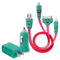 Kit Cable Cargador Usb Flash 3 En 1 ( Ac Y Plug In)- Mobo