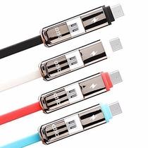 Cable Usb Dos En Uno Tipo C Y Micro Usb 3.1 Metalico 1mt