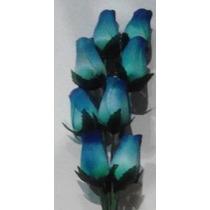8 Hechos A Mano De Madera Rosas Azules Con Azul Marino Conse