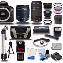 Canon Rebel T5 18-55 + 75-300 4 Lens 32gb + Flash Y Bateria