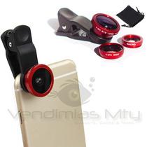 Clip 3 Lentes Fisheye + Wide + Macro Smartphones Ojo De Pez
