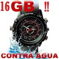 Reloj Con Cámara Oculta Dvr Resistente Al Agua 16 Gb Hd 720p