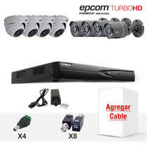 Kit Epcom Hd 8ch 4 Hd Bullet Y 4 Domo Hd 1080p 2mp