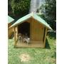 Casa Para Perro De Madera Residencial Con Terraza D Lujo Vv4