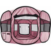 Casa Corral Portatil Para Mascotas 122 X 122 X 61 Color Rosa