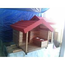 Casas De Madera Para Mascota (pet House) Chica Con Tazones