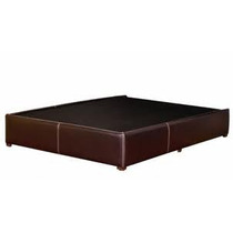 Base Queen Size Tacto Piel Chocolate Minimalista
