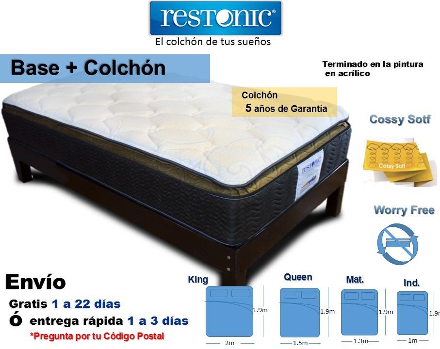 Camas y bases cama con colchone queen size restonic for Cama individual base y colchon