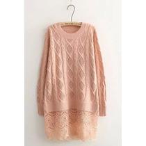 Suku 71080 Bonita Blusa Tejida Con Encaje Moda Japón $749