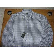 Camisa Hugo Boss Large Azul/lila Cuadrada 100% Original