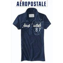 Playera Aeropostale Henley Polo Dama M Mediana Azul Navy Us