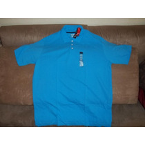 Camiseta Polo Talla 2xl Tall Color Azul , En Piqué