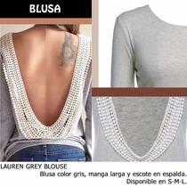 *fashionstore* Lauren Grey Blouse. Blusa Gris Escote Espalda
