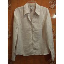 Blusa De Vestir Blanca C/un Delicado Grabado Joanna M-34