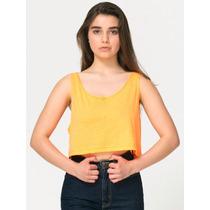American Apparel Moderna Blusa Corta Naranja Neon