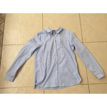 Camisa Zara S Líneas Azul Y Blanco Escote Cuello