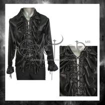 Camisa Eretica Con Escarolas Neg.gotico,dark,metalero.rocker