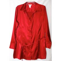Bluson Blusa Tipo Seda Largo Rojo Extra Grande