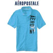 Aeropostale Xxl 2x Playera Polo Hombre Azul Bordada Padris