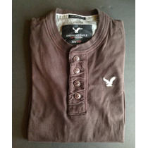 Playeras Henley American Eagle Manga Larga 100% Original
