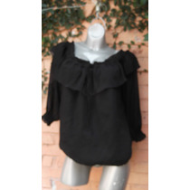 Blusa Mariane T/xl 38-40 Gasa Negra Venta De Closet