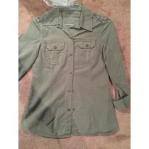 Camisa Bershka Talla M Verde Militar Stretch