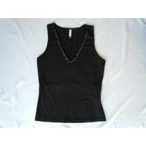 Nueva Blusa Negra Con Piedras T Ch Forever 21 Ajustable
