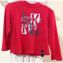 Suéter - Blusa Ligera Marca Dkny Rojo Niña 3 Años Fashion.