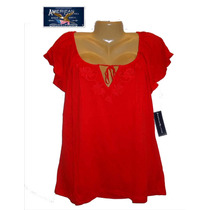 Blusa Top M Mediana Stretch Roja Bordada Hermosa Macys Ameri