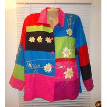 Blusa S Chica De Seda Bordada Colores Flores Manga Larga Ve!