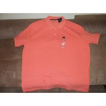 Camiseta Polo Talla 2xl, Color Durazno ,piqué Talla Extra