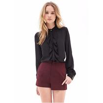 Camisa Blusa Negra Olanes Elegante Moda Fashion