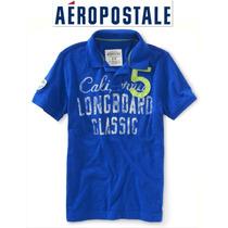 Aeropostale Xs X Chica Playera Polo Hombre Nino Azul Bordada