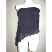 Strapless Blusa Negra Asimétrica Talla M!! Bl217