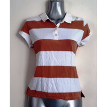 Playera Polo Rayada Cafe Con Blanco Old Navy Talla M