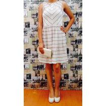 Vestido Rayas Cremas-doradas London Times Talla 8 Moda 0069