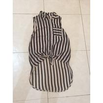 Blusa Shifon Transparente Rayada Nude Negro Wet Seal S Bebe