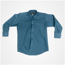 Camisa Manga Larga De Vestir Marca Gabrielito Azul Petróleo