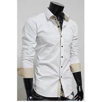 Camisa De Vestir Celeste Para Hombres