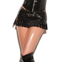 Falda Sexy De Charol C/ Zipper Negra Erotico V6144