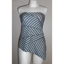 Yk Clothing! Blusa Strapless Rayas Diagonales, Talla M