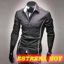 Camisas Vestir Casuales Hombre Slim Fit, Camisa Caballeros