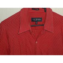 Camisa Halston Roja Casual Manga Corta Algodón Nueva Talla L