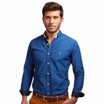 Camisa Lac Azul Índigo Lineas Gris Con Detalle Blancos