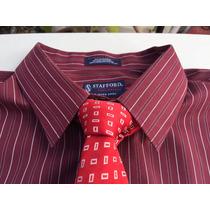 Camisa Ideal Traje Stafford Vino Tallas Extra 3xlt Cuello 19